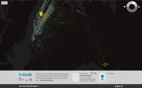 Screenshot of HubCab, highlighting all taxi dropoff points in New York City of passengers who were picked up at Times Square daily between 12 PM and 3 PM.