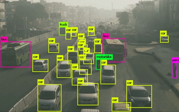Road traffic video New Delhi with YOLO detection results