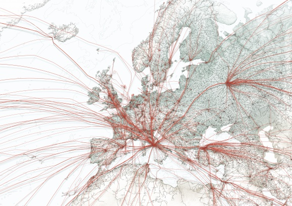 Eastern traffic tends to enter via Moscow. Connections to the west are more diverse and not as bundled. Note also how all east coast traffic is routed via Iceland, while west coast origins fly in via Paris and London.