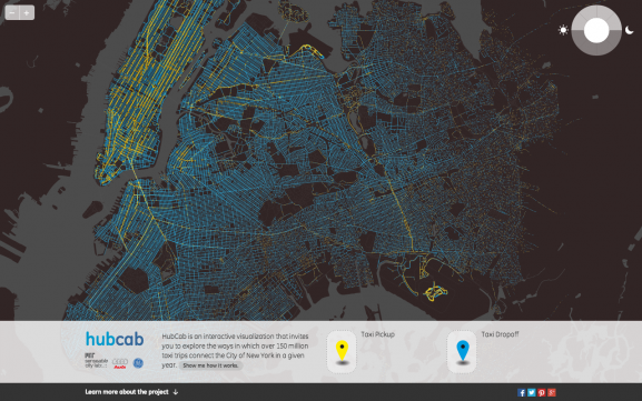 Screenshot of HubCab, showing pickups and drop offs of all 170 million taxi trips over one year in New York City.