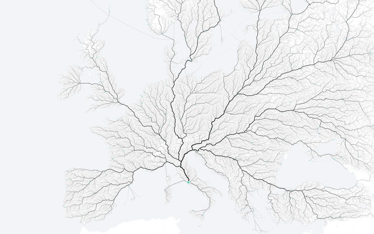 486.713 routes to Rome, 120cm × 80cm, lambda print / interactive web map