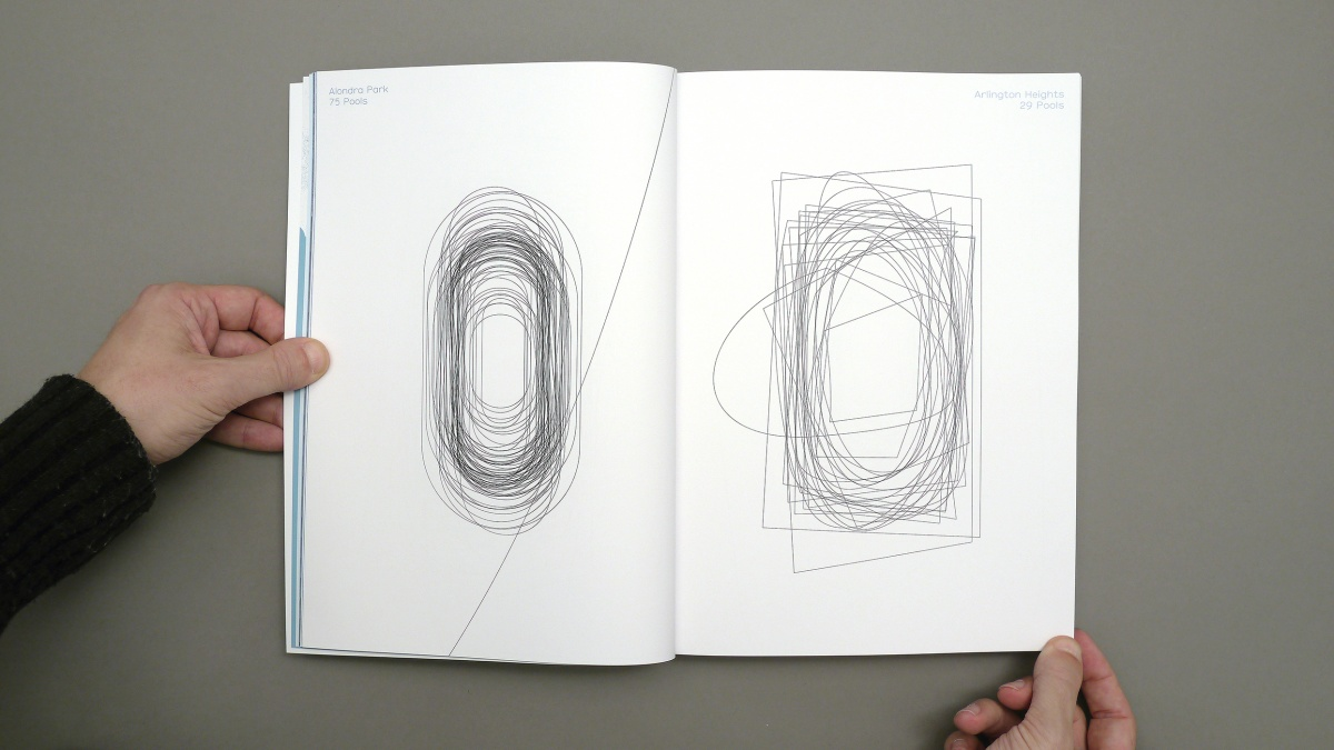 Each page shows all pool shapes of the particular neighborhood overlaid = neighborhood pool shape fingerprint